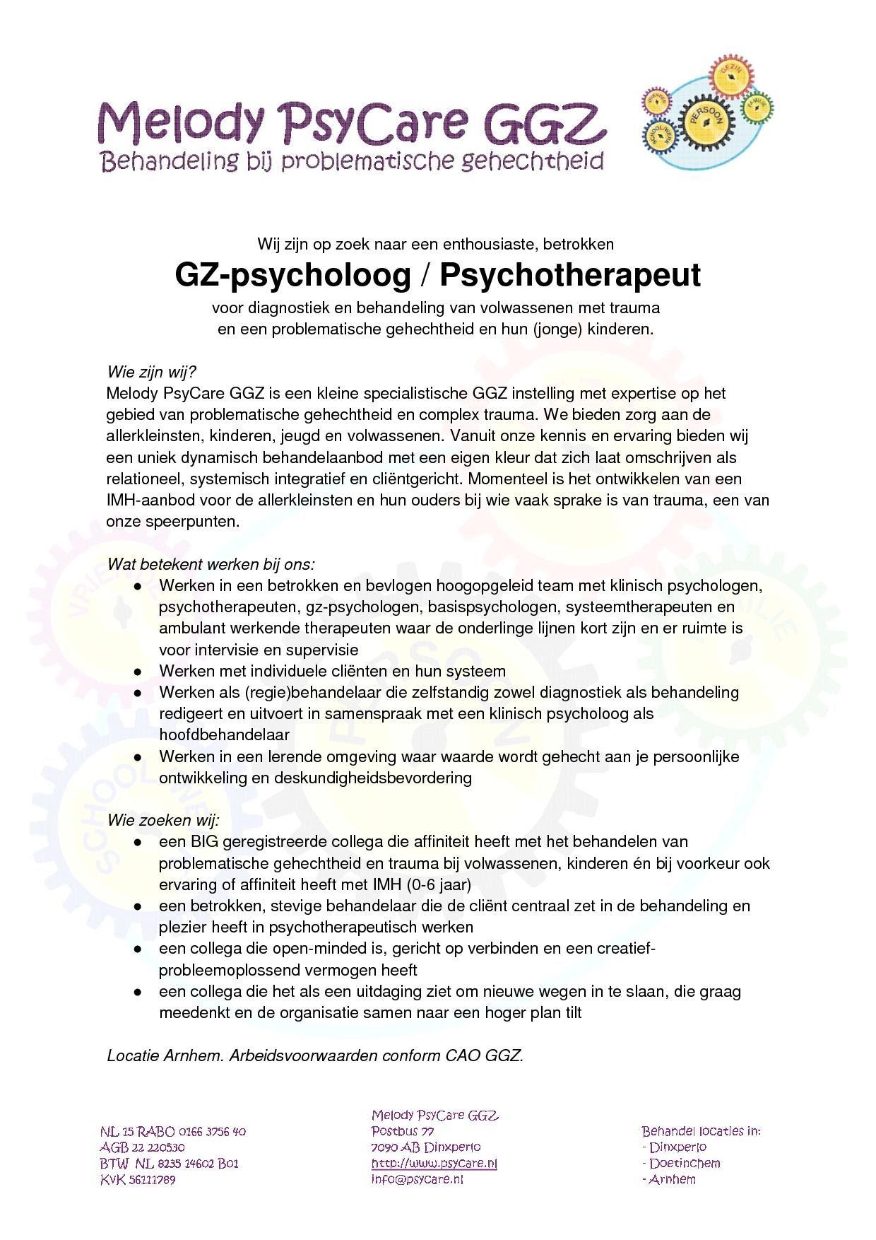 Vacature GZ-psycholoog / Psychotherapeut